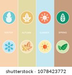 two sets of four seasons icons. | Shutterstock .eps vector #1078423772