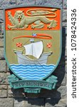 Small photo of VICTORIA BC CANADA JUNE 22 2015: Coat of arms of New Brunswick is one of Canada's three Maritime provinces.It was created as a result of the partitioning of the British Colony of Nova Scotia in 1784.
