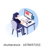 girl working on computer.... | Shutterstock .eps vector #1078457252