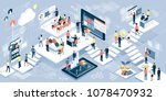 isometric virtual office with... | Shutterstock .eps vector #1078470932