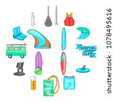 surfing icons set. cartoon... | Shutterstock .eps vector #1078495616
