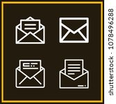 set of 4 message outline icons... | Shutterstock .eps vector #1078496288