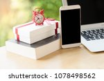 phone with red alarm clock ... | Shutterstock . vector #1078498562