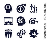 set of 9 gear filled icons such ... | Shutterstock .eps vector #1078502588