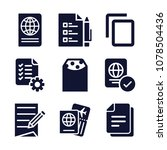 set of 9 document filled icons...