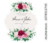 wedding floral template... | Shutterstock . vector #1078513745