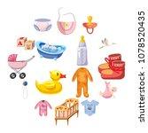 baby born icons set. cartoon... | Shutterstock .eps vector #1078520435
