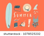 summer holiday card with women... | Shutterstock .eps vector #1078525232
