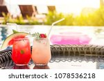 lychee and watermelon soda... | Shutterstock . vector #1078536218