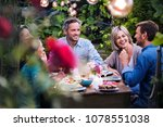 group of friends gathered... | Shutterstock . vector #1078551038