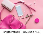 fashion concept   flat lay of... | Shutterstock . vector #1078555718