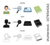a translator in headphones  a... | Shutterstock .eps vector #1078564262