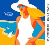 hello summer  holiday concept.... | Shutterstock .eps vector #1078575248