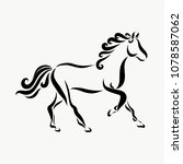 running horse with a wavy mane | Shutterstock . vector #1078587062
