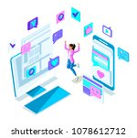 isometry cool girl teenager ... | Shutterstock .eps vector #1078612712