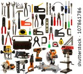 tool collage isolated on a... | Shutterstock . vector #107861786