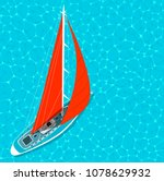 top view sail boat on water... | Shutterstock .eps vector #1078629932