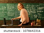 Small photo of Teacher is skilled leader, Student looks for studying method that suits his learning style, Modern teacher hipster writing on big blackboard with math formula, Some students learn best by listening