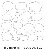 freehand drawing bubble speech... | Shutterstock . vector #1078647602