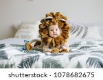 Stock photo handsome plump little child in a lion costume a little boy in the costume of an animal 1078682675