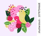 raspberries and birds on... | Shutterstock .eps vector #1078704668