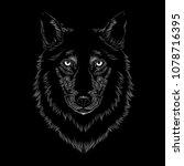 Line Art Wolf Face Illustratio...