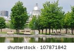 Downtown Montreal Waterfront, and Bonsecours Market in Quebec, Canada - stock photo