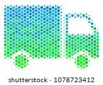halftone dot shipment van icon. ...   Shutterstock .eps vector #1078723412