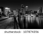 Stock photo boston harbor at night in black and white massachusetts usa 107874356