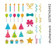 set of birthday elements | Shutterstock .eps vector #1078745492