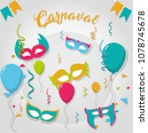 happy carnaval party card   Shutterstock .eps vector #1078745678