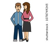 color couple woman and man...   Shutterstock .eps vector #1078749245