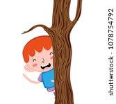 happy child boy back trunk tree | Shutterstock .eps vector #1078754792