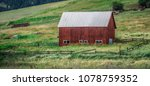landscape with a red barn in... | Shutterstock . vector #1078759352