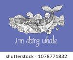 zen art of happy whale swimming ... | Shutterstock .eps vector #1078771832