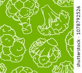 broccoli hand drawn vector... | Shutterstock .eps vector #1078792526