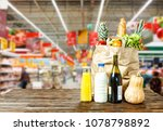 paper bag with various food is... | Shutterstock . vector #1078798892