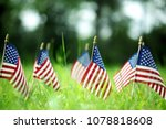 Group Of American Flags In...