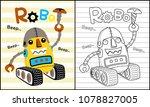funny robot cartoon on striped... | Shutterstock .eps vector #1078827005