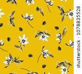 vintage white blossom  floral... | Shutterstock .eps vector #1078835528