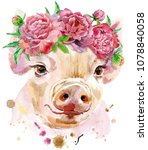 A Beautiful Pig In A Wreath Of...