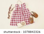 Baby Outfit  Top View  Plaid...