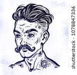 hand drawn portrait of inked... | Shutterstock .eps vector #1078847336