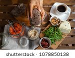 rye bread sandwich with cream...   Shutterstock . vector #1078850138