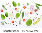 various fresh herbs for cooking ... | Shutterstock . vector #1078862492