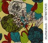 vintage flowers pattern design.   Shutterstock .eps vector #1078872935