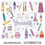do it yourself cartoons | Shutterstock .eps vector #1078880726