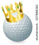 King of golf concept, a golf ball wearing a gold crown - stock vector