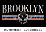 Retro style print design. Brooklyn, New York slogan graphic for t-shirt and other uses
