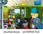cartoon scene with garage... | Shutterstock . vector #1078904765